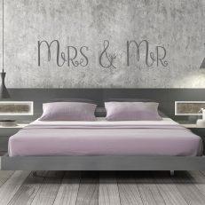Muursticker slaapkamer mrs en mr k252