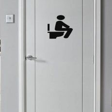 Deursticker. Toilet. Toiletsticker zittend. Veel afm. en kleuren