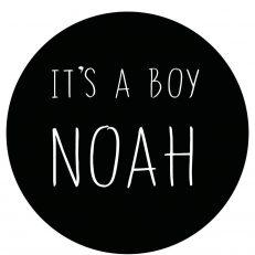 Raamsticker. Geboorte van een jongen. Tekst: It's a boy (Eigen babynaam)