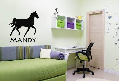 Paarden Sticker Muur.Muursticker Met Een Afbeelding Van Een Paard Inclusief Een Eigen Naam