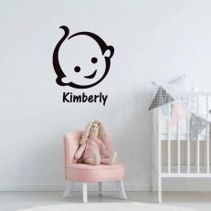 Muursticker met het hoofd van een baby en inclusief eigen babynaam