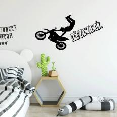 Muursticker met een motor en een motorcrosser. inclusief een eigen naam