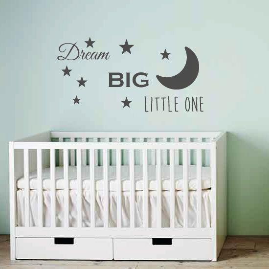 Baby Stickers Voor Op De Muur.Muursticker Tekst Dream Big Little One K387a