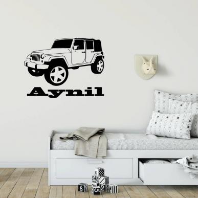 Muursticker met een afbeelding van een Jeep. Inclusief een eigen naam