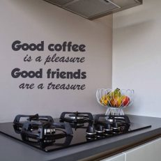 muursticker keuken Good coffee is a pleasure. Good friends are a treasure k423