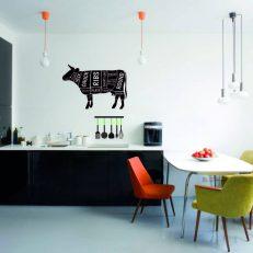 muursticker keuken de koe en haar vleesdelen k195