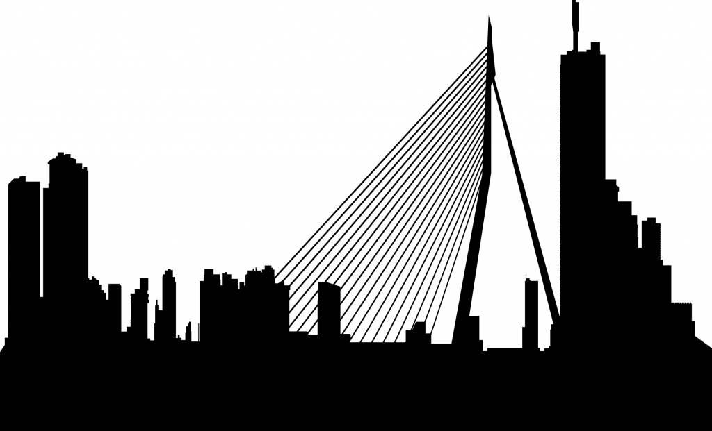 Muurstickers Winkel Rotterdam.Muursticker Met De Prachtige Skyline Van De Stad Rotterdam