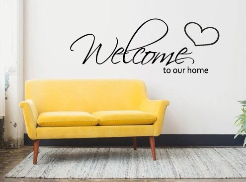 muursticker woonkamer welcome to our home k093 a