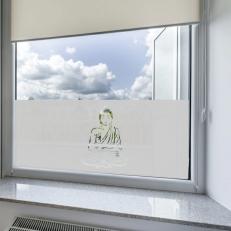 Raamfolie sticker voor ramen. Raamfolie met een afbeelding van Buddha