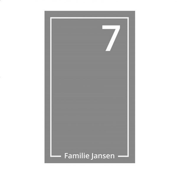 Raamfolie sticker voor de voordeur. Incl. eigen familienaam + huisnummer