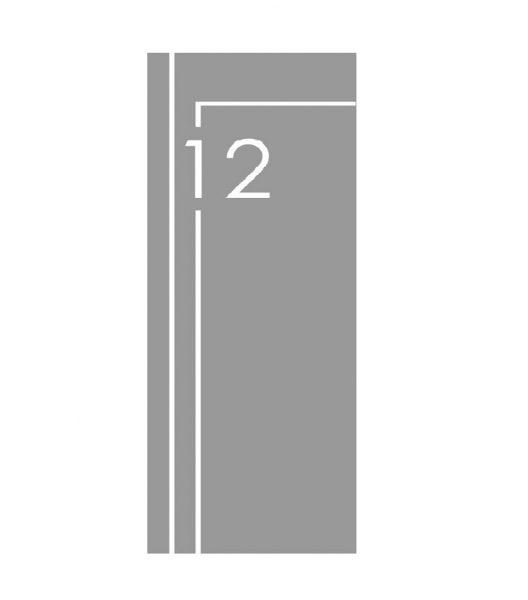 Raamfolie sticker voor de voordeur. Inclusief huisnummer en 2 lijnen