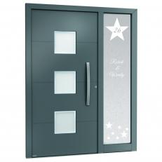 Raamfolie sticker voor de voordeur. Incl. eigen huisnummer en voornamen