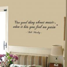 "Muursticker. Bob Marley. ""One good thing about music... ""etc. QS044"