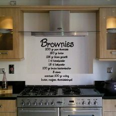 Muursticker. Recept. Brownies 200 gr pure chocolade etc... QS106