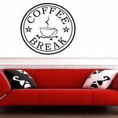 Muursticker. Tekst: Coffee break QS087. Meerdere afmetingen en kleuren