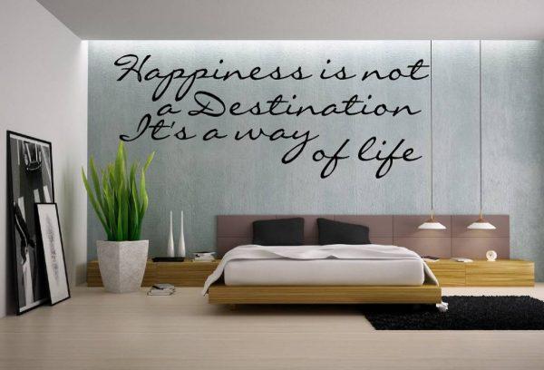 Muursticker. Tekst: Happiness is not a destination... etc. QS091