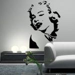 Muursticker. Marilyn Monroe. Portret. QS132. Fotomodel, actrice, zangeres