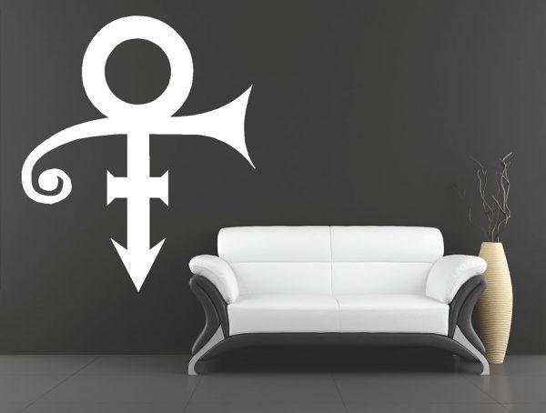 Muursticker. Het logo van Prince. QS133. In diverse kleuren en afmetingen