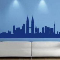 Muursticker. De skyline van Kuala Lumpur in Maleisie. QS118
