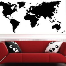 Muursticker. Wereldkaart. QS130. Europa, Azie, Amerika's, Afrika, Oceanie