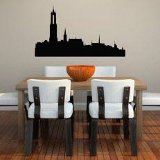 Muursticker met een afbeelding van de skyline van de stad Utrecht