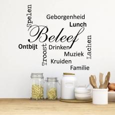 Muursticker. Keukenwoorden zoals bijv. Ontbijt, Lunch, Beleef... etc.