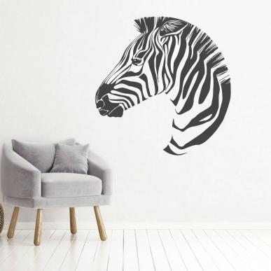 Muursticker. Voor diverse kamers. Onderwerp: De kop van een zebra