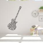 Muursticker. Muzieknoten in de vorm van een gitaar. Div. kleuren en afm.