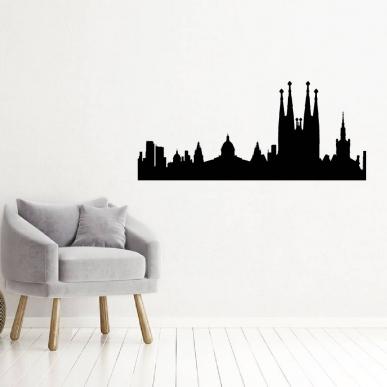 Muursticker met het silhouet van de Spaanse stad Barcelona