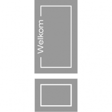 Raamfolie Voordeur Twee Ramen Boven Welkom met kader Onder Blanko met kader VL15
