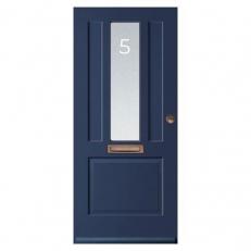 Raamfolie sticker voor de voordeur. Inclusief huisnummer