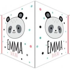Raambord. Geboorte. Panda en stippen. Incl. babynaam + geboortedatum