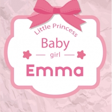 Poster. A4 en A3 formaat. Tekst: Little princess. Baby-girl. Incl. eigen naam