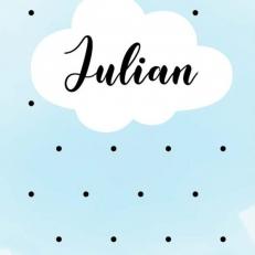 Poster. In A4 en A3 formaat. Wolk in de blauwe lucht. Incl. eigen naam