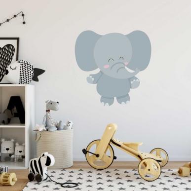 Muursticker. In full color. Onderwerp: Een olifant. In verschillende maten