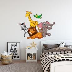 Muursticker. In full color. Dieren. Leeuw, zebra, olifant, giraffe en vogel