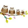 Muursticker. In full color. Vier uilen op een boomtak. In diverse maten