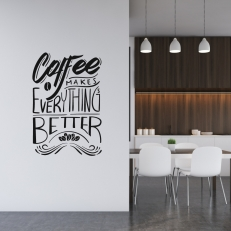 "Muursticker met de tekst ""Coffee makes everything better""."