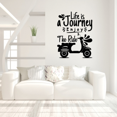 "Muursticker met de tekst ""Life is a journey Enjoy the ride"""