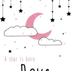 Poster. A4 en A3 formaat. A star is born (eigen naam). Incl. eigen naam