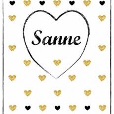 Poster. A4 en A3 formaat. Groot hart en andere harten. Incl. eigen naam