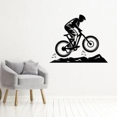 Muursticker. Mountainbiker. In diverse kleuren en afmetingen beschikbaar