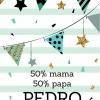 Poster. A4 A3. Tekst: 50% mama, 50% papa, (eigen naam), 100% perfect