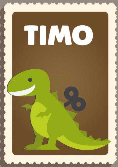 Poster. A4 en A3. Opwindbare Dino. Inclusief eigen naam