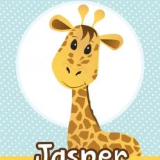 Poster. A4 en A3. Guitige giraffe. Inclusief eigen naam