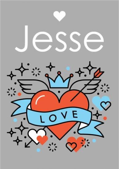 Poster. A4 en A3 formaat. Tekst: Love. Hart met vleugels. Incl. eigen naam