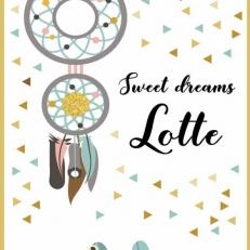 Poster. A4 en A3. Tekst: Sweet Dreams. Inclusief eigen naam