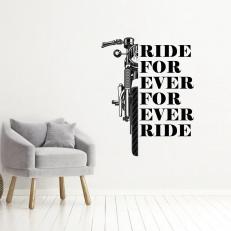 Muursticker. Tekst: For ever Ride Ride for ever. Div. afmetingen en kleuren