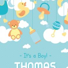 Poster. In A4 en A3 formaat. It's a boy. (Eigen naam)