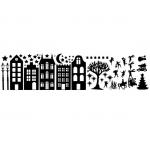 Raamfolie. Statisch. Huizen set met Sinterklaas en Kerst